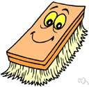 scrub brush - a brush with short stiff bristles for heavy cleaning