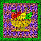 mosaic - art consisting of a design made of small pieces of colored stone or glass