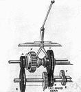 first - the lowest forward gear ratio in the gear box of a motor vehicle