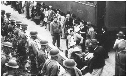 During World War II, the U.S. government moved thousands of Japanese Americans to detention camps because it considered them alien enemies while the country was at war with Japan. NATIONAL ARCHIVES AND RECORDS ADMINISTRATION