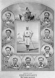 With a payroll of approximately 11,000 dollars, the 1869 Cincinnati Red Stockings were the first professional baseball team. LIBRARY OF CONGRESS