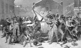 On March 5, 1770, English soldiers fired into a crowd of angry colonists, killing five. Two of the soldiers were later found guilty of manslaughter. LIBRARY OF CONGRESS
