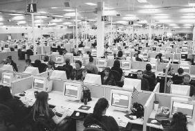 Census workers in a Phoenix, Arizona, data capture center. For the 2000 Census, the bureau planned to hire 850,000 temporary employees to assist its 6,000 permanent employees. U.S. CENSUS BUREAU
