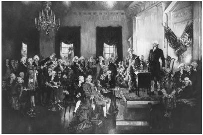 A depiction of George Washington presiding over the signing of the U.S. Constitution in Philadelphia on September 17, 1787. LIBRARY OF CONGRESS