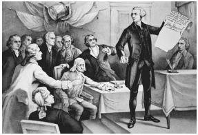 A depiction of members of the Continental Congress, the first national legislative assembly in the United States, during the signing of the Declaration of Independence. John Hancock, president of the Congress from 1775 to 1777, is shown holding the document. LIBRARY OF CONGRESS
