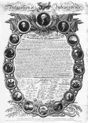 The Declaration of Independence was signed July 4, 1776. This work, assembled by John Binns in 1819, surrounds a facsimile of the document's text with portraits of George Washington, John Hancock, and Thomas Jefferson, along with the seals of the 13 original states. LIBRARY OF CONGRESS