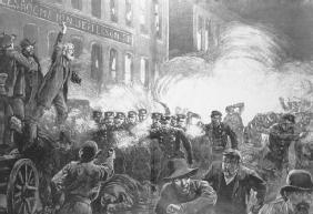 The Haymarket Riot took place in Chicago on May 4, 1886. Seven policemen and several protesters were killed, and the event led to the execution of four radicals. LIBRARY OF CONGRESS