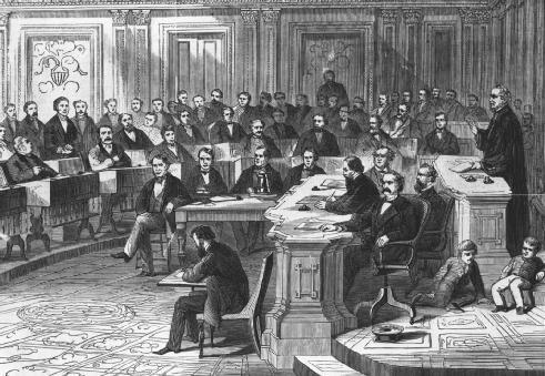 A depiction of the 1868 impeachment proceedings against President Andrew Johnson. The Senate's vote on the 11th Article of Impeachment fell one vote short of the twothirds majority needed to impeach Johnson. Two other articles were later defeated. LIBRARY OF CONGRESS