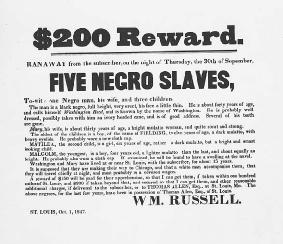 An 1847 handbill offering a reward for an escaped slave. The Supreme Court's decision in Prigg frustrated slave owners as Northern states obliged the Court by refusing to participate in fugitive slave proceedings. LIBRARY OF CONGRESS