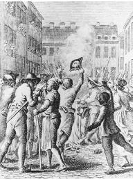 Colonists protest the Stamp Act of 1765 by burning Stamp Act papers in Boston. LIBRARY OF CONGRESS