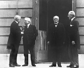 Most of the terms of the Treaty of Versailles were set at the Paris Peace Conference, which was dominated by (l-r) Lloyd George of Great Britain, Vittorio Orlando of Italy, Georges Clemenceau of France, and Woodrow Wilson of the United States. LIBRARY OF CONGRESS