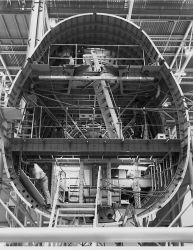 Boeing 747 fuselage with stringer-stiffened skin supported by frames