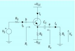 Schematic diagram of an emitter follower circuit