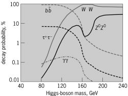 Dependence of the decay probabilities of a standard-model Higgs boson on its mass