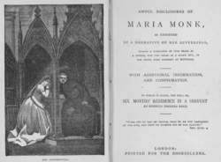Awful Disclosures of maria monk | Article about Awful Disclosures ...
