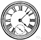 clock face - the face of a clock showing hours and minutes of the day