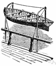 davit - a crane-like device (usually one of a pair) for suspending or lowering equipment (as a lifeboat)