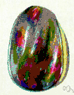 Harlequin opal - a reddish opal with small patches of brilliant color