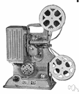 film projector - projects successive frames from a reel of film to create moving pictures