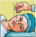 acupuncture - treatment of pain or disease by inserting the tips of needles at specific points on the skin