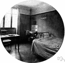 dormitory room - a large sleeping room containing several beds