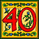40 - the cardinal number that is the product of ten and four