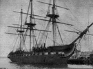Old Ironsides - a United States 44-gun frigate that was one of the first three naval ships built by the United States
