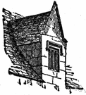 dormer window - a gabled extension built out from a sloping roof to accommodate a vertical window