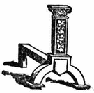 dog-iron - metal supports for logs in a fireplace