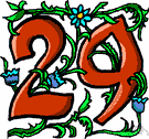 29 - the cardinal number that is the sum of twenty-eight and one