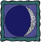 new moon - the time at which the Moon appears as a narrow waxing crescent