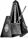 metronome - clicking pendulum indicates the exact tempo of a piece of music