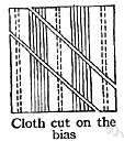 diagonal - a line or cut across a fabric that is not at right angles to a side of the fabric