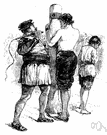whipping - beating with a whip or strap or rope as a form of punishment