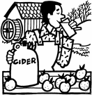 cider - a beverage made from juice pressed from apples