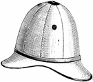 pith hat - a lightweight hat worn in tropical countries for protection from the sun