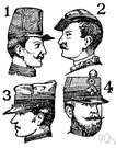 peaked cap - a cap with a flat circular top and a visor