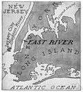 East River - a tidal strait separating Manhattan and the Bronx from Queens and Brooklyn