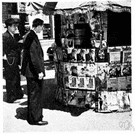 newsstand - a stall where newspapers and other periodicals are sold