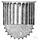 fluting - a groove or furrow in cloth etc (particularly a shallow concave groove on the shaft of a column)