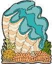 giant clam - a large clam inhabiting reefs in the southern Pacific and weighing up to 500 pounds