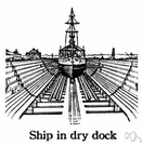 drydock - a large dock from which water can be pumped out