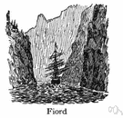 fiord - a long narrow inlet of the sea between steep cliffs