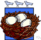 nest - a structure in which animals lay eggs or give birth to their young
