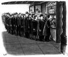 ticket line - a queue of people waiting to buy tickets