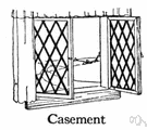 casement - a window sash that is hinged (usually on one side)