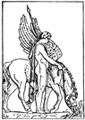 Bellerophon - (Greek mythology) a mythical hero of Corinth who performed miracles on the winged horse Pegasus (especially killing the monster Chimera)
