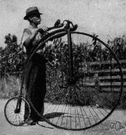 ordinary - an early bicycle with a very large front wheel and small back wheel
