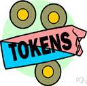 token - a metal or plastic disk that can be redeemed or used in designated slot machines