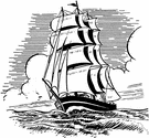 clipper ship - a fast sailing ship used in former times